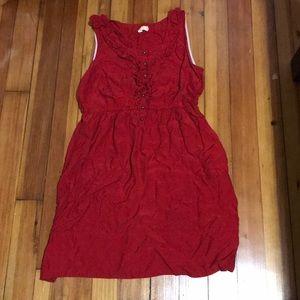 Maeve Anthropologie Red Ruffled Neckline Dress